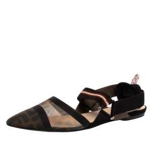Fendi Black/Brown Zucca Mesh Colibri Slingback Flat Sandals Size 40