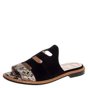 Fendi Black Suede And Python Cut Out Flat Slides Size 36