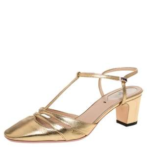 Fendi Metallic Gold Leather T Strap Block Heel Sandals Size 36