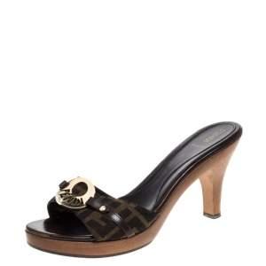 Fendi Brown Canvas Logo Platform Open Toe Slide Sandals Size 40.5