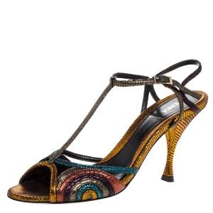 Fendi Multicolor Glitter Leather Ankle Strap Sandals Size 38.5