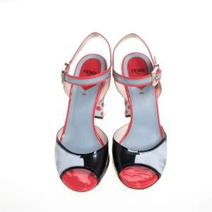 Fendi Multicolor Leather And Patent Flower And Polka Dot Print Ankle Strap Sandals Size 38.5