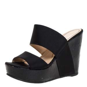 Fendi Black Fabric Wedge Platform Slide Sandals Size 37.5