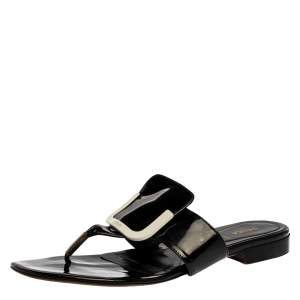 Fendi Black Patent Leather Thong Flats Size 40