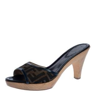 Fendi Brown Zucca Canvas And Leather Trims Platform Open Sandals Size 40