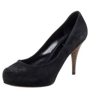 Fendi Black Suede Zucca Heel Platform Pumps Size 38