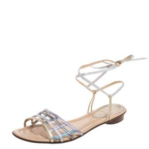 Fendi Metallic Multicolor Leather Ankle Wrap Flat Sandals Size 41