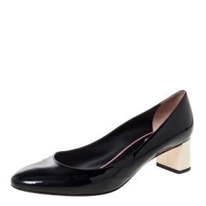 Fendi Black Patent Leather Block Heel Pumps Size 39.5