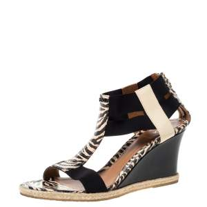 Fendi Black/Beige Zebra Print Python Embossed Leather T-Strap Wedge Sandals Size 39