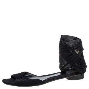 Fendi Black Suede And Stretch Mesh Fabric Ankle Wrap Flat Sandals Size 41