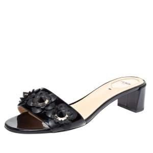 Fendi Black Leather Flowerland Open Toe Sandals Size 40