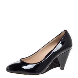 Fendi Black Patent Leather Wedge Pumps Size 39