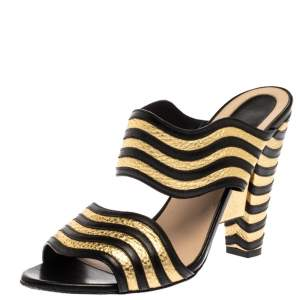 Fendi Gold/Black Striped Wave Leather Block Heel Sandals Size 39