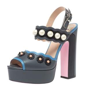Fendi Grey Leather Pearl Studded Platform Ankle Strap Sandals Size 39