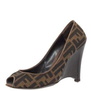 Fendi Brown Zucca Canvas Peep Toe Wedge Pumps Size 38.5