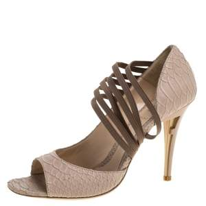 Fendi Beige Python Embossed Leather Open Toe Sandals Size 39