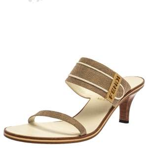 Fendi Beige FF Logo Canvas 'FENDI' Logo Embellished Slide Sandals Size 38.5