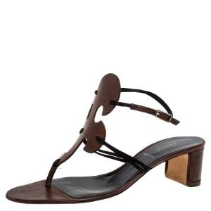 Fendi Brown/Black Satin And Leather Thong Slingback Block Heel Sandals Size 39
