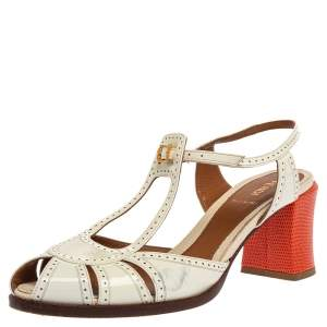 Fendi White Cut-Out Patent Leather And Orange Lizard Block Heel Peep Toe Sandals Size 41