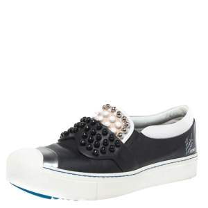 Fendi Black Leather Karlito Studded Slip-on Sneakers Size 37