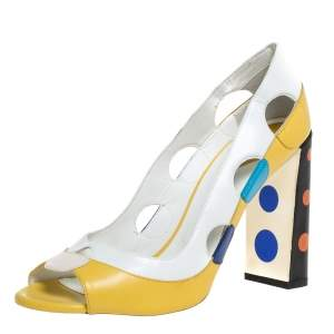 Fendi Multicolor Leather Cut Out Polka Dot Heel Peep Toe Pumps Size 39.5