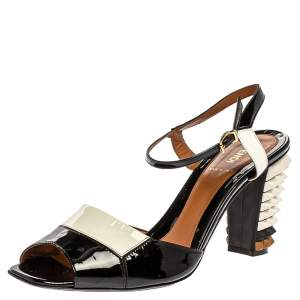Fendi Two Tone Patent Leather Polifonia Studded Heel Ankle Strap Sandals Size 41