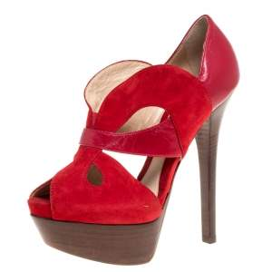 Fendi Red Suede And Leather Cut Out Platform Open Toe Sandals Size 37.5