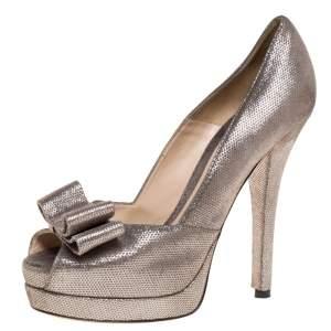 Fendi Silver/Grey Textured Suede Leather Deco Bow Platform Pumps Size 38.5