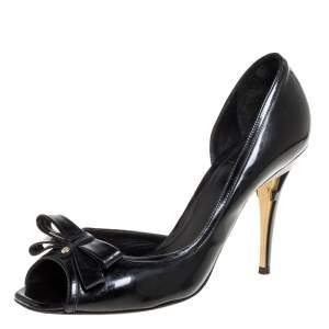 Fendi Black Patent Leather Peep Toe Bow Pumps Size 39