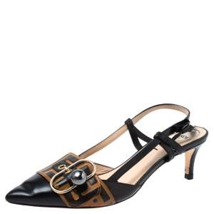 Fendi Black/Brown Zucca Pearland Slingback Pumps Size 37