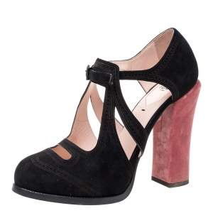 Fendi Black/Pink Suede And Velvet Cut Out Pumps Size 39