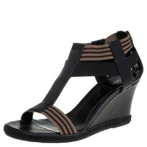 Fendi Black/Brown Leather And Elastic Fabric T-Strap Espadrille Wedge Sandals Size 38.5