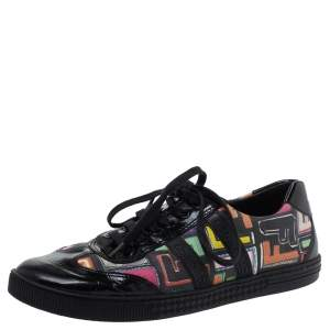 Fendi Multicolor Canvas and Patent Leather Zucca Low Top Sneakers Size 38.5