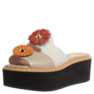 Fendi Tri Color Leather Flowerland Runway Platform Slide Sandals Size 37