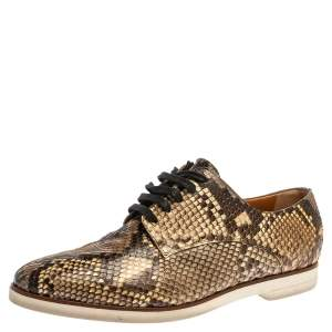 Fendi Brown/Beige Python Leather Lace Up Derby Sneakers Size 39