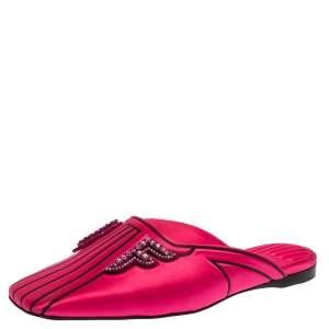 Fendi Pink Satin Crystal Freedom Flat Mules Size 37