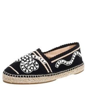 Fendi Black/Beige Knit Fabric Pearl Embellished Espadrilles Flats Size 37.5