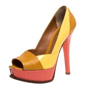 Fendi Yellow/Pink Fendista Colorblock Lizard-Embossed Leather Peep Toe Platform Pumps Size 36