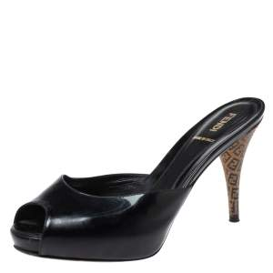 Fendi Black Patent Leather FF Superstar Mule Slides Size 38.5