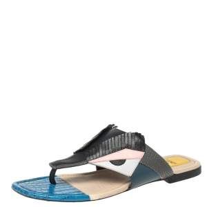 Fendi Multicolor Bugs Paneled Leather Thong Sandals Size 38.5