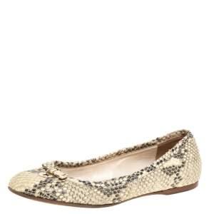 Fendi Beige Python Effect Leather Charm Ballet Flats Size 37
