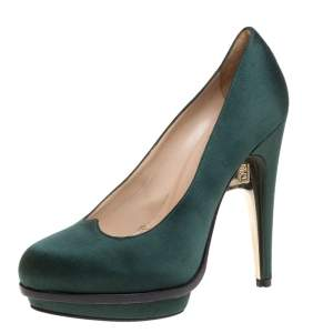 Fendi Green Satin Bridge Heel Platform Pumps Size 38