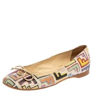 Fendi White Multicolor Zucca Spalmati Ballet Flats Size 37