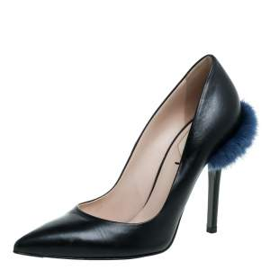 Fendi Black Leather And Mink Fur Trim Pointed Toe Pumps Size 36