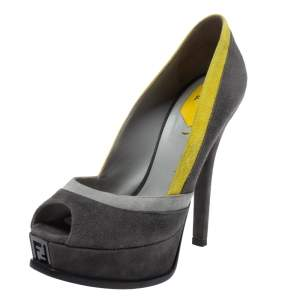 Fendi Grey/Yellow Suede Fendista Peep Toe Pumps Size 38.5