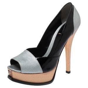 Fendi Multicolor Leather Fendista Peep Toe Platform Pumps Size 39.5