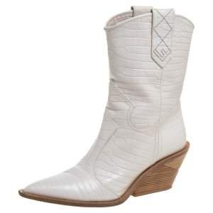 Fendi White Croc Embossed Leather Mid Calf Pointed Toe Boots Size 40