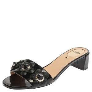 Fendi Black Patent Leather Flower Embellished Open Toe Sandals Size 39.5