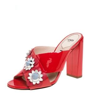 Fendi Red Patent Leather Embellished Floral Appliquéd Mules Size 36