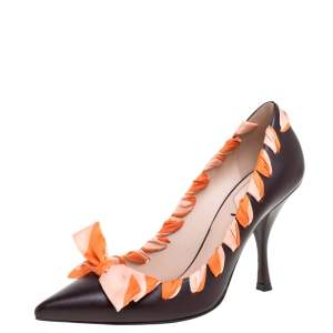 Fendi Brown Leather Ribbon Detail Pointed Toe Pumps Size 38